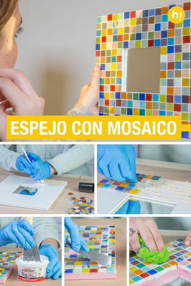 Cómo crear un espejo con mosaico | Marcos de madera, Mosaicos y Espejo