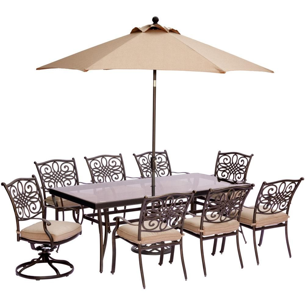 Hanover 9 Piece Outdoor Dining Set With Rectglr Glass Table And 2