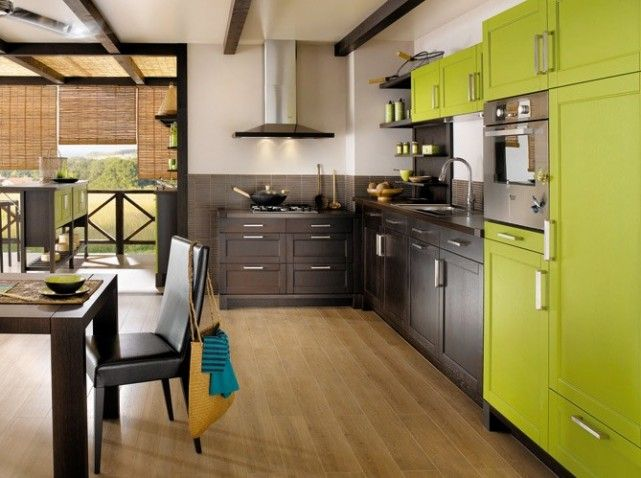 modern green kitchen cuisine moderne color e vert anis