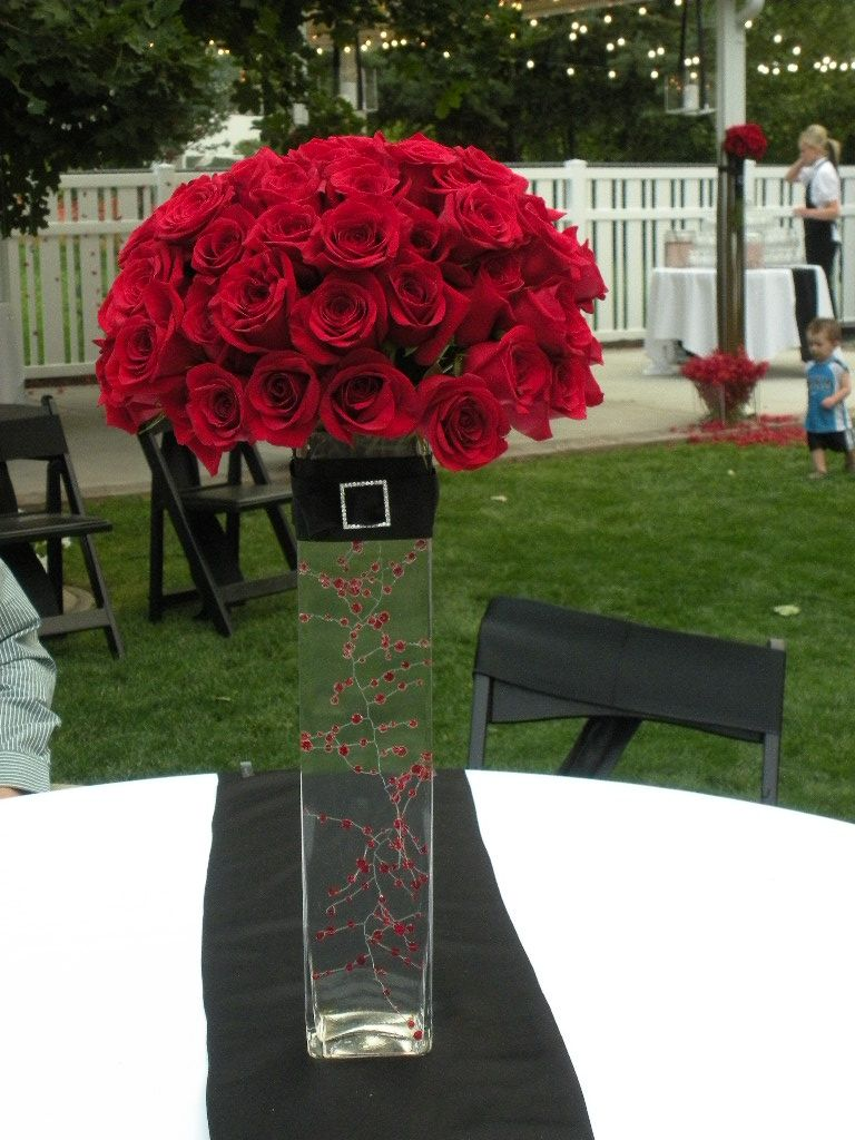 Wedding decorations red  Red Rose centerpiece  samius bday  Pinterest  Red rose