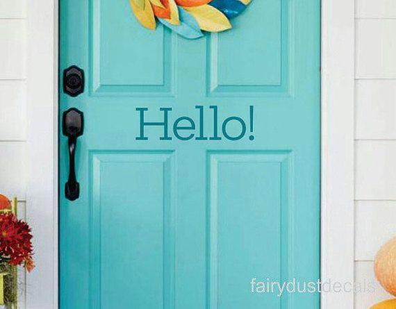 Hello Decal front door decal vinyl letters for entrance hello sticker for door & Hello Decal front door decal vinyl letters for entrance hello ...