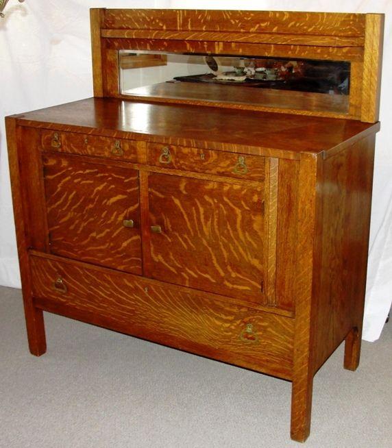 1918 Mission Style Sawn Oak Buffet - H4>1918 Mission Style 1/4 Sawn Oak Buffet Arts And Crafts/ Mission