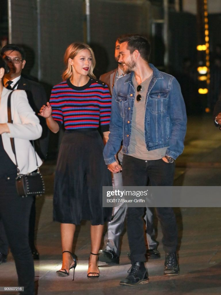 Melissa Benoist And Chris Wood Are Seen Arriving At Jimmy Kimmel Chris Wood Superchica Superheroes Dc