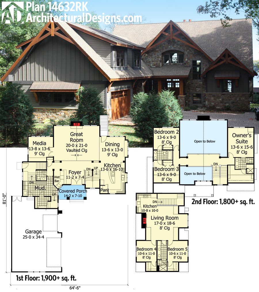 Plan 14632rk rugged craftsman with room over garage for Room above garage plans