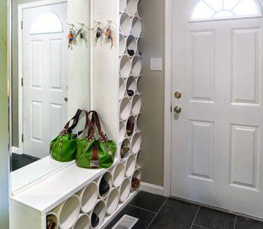 rangement chaussure dans entr e fabriquer avec bois et tube pvc rangement chaussures pvc et. Black Bedroom Furniture Sets. Home Design Ideas
