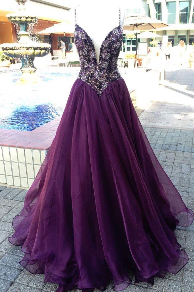 Unique v neck purple beads tulle long prom dress evening dress