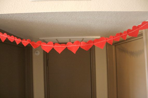 Valentines Day Felt Hearts Love Garland ready to ship- by MAMAOWLSHOP, $8.00