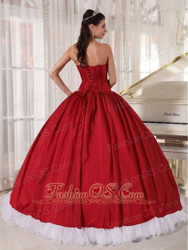 78a1f6ee895 Wonderful Wine Red and White Quinceanera Dress Sweetheart Organza and Taffeta  Beading Ball Gown