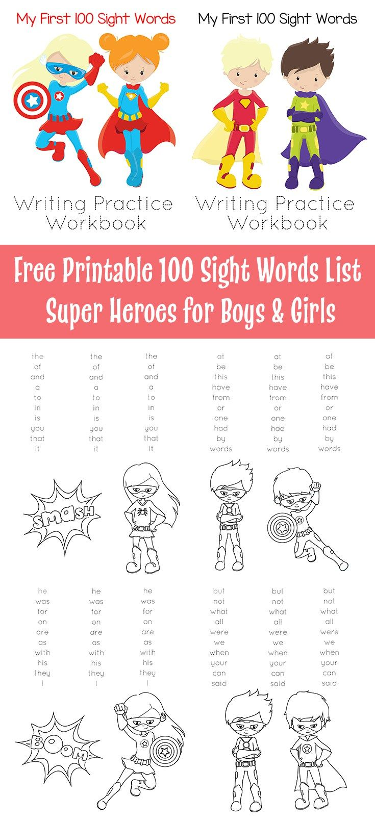 Free Printable 100 Sight Words List Super Heroes For Boys Girls California Unpublished Sight Words Kindergarten Sight Words List Kindergarten Sight Words List [ 1614 x 735 Pixel ]
