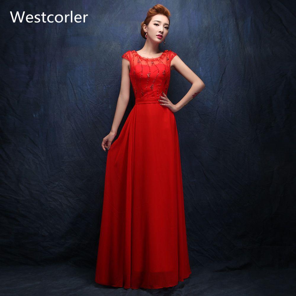 Westcorler chiffon red long evening dresses crystal beading