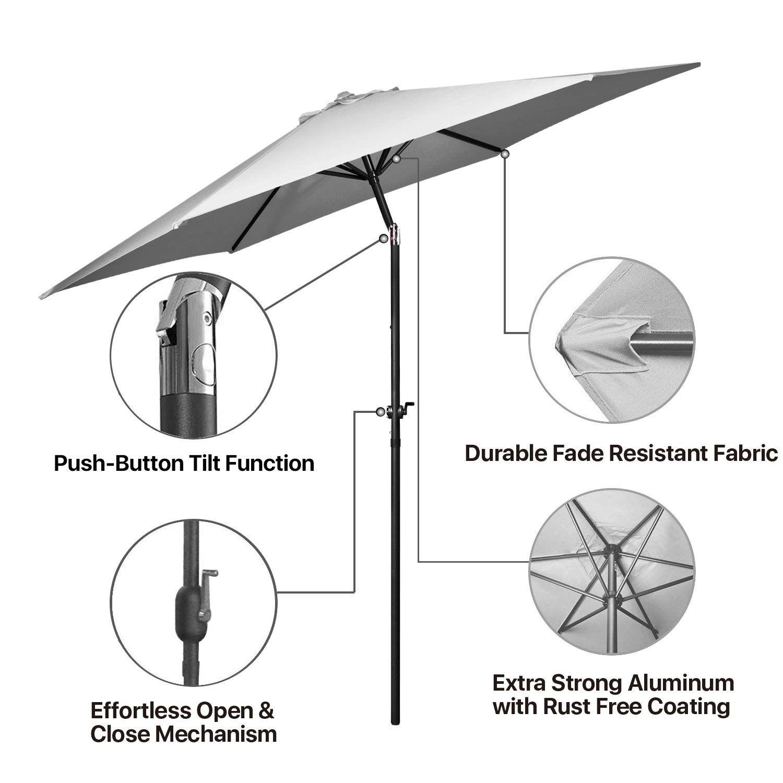 Flexzion Patio Umbrella 10 Feet Portable Aluminum Outdoor Table
