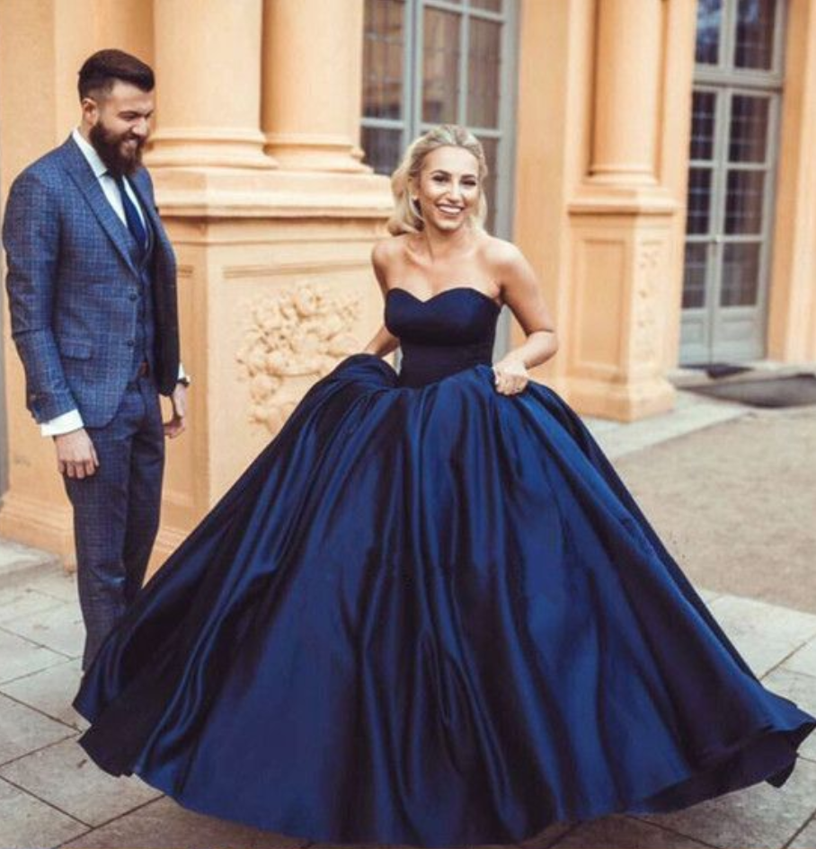 Navy Blue Ball Gowns,Satin Wedding Dress,Engagement Dress,Ball