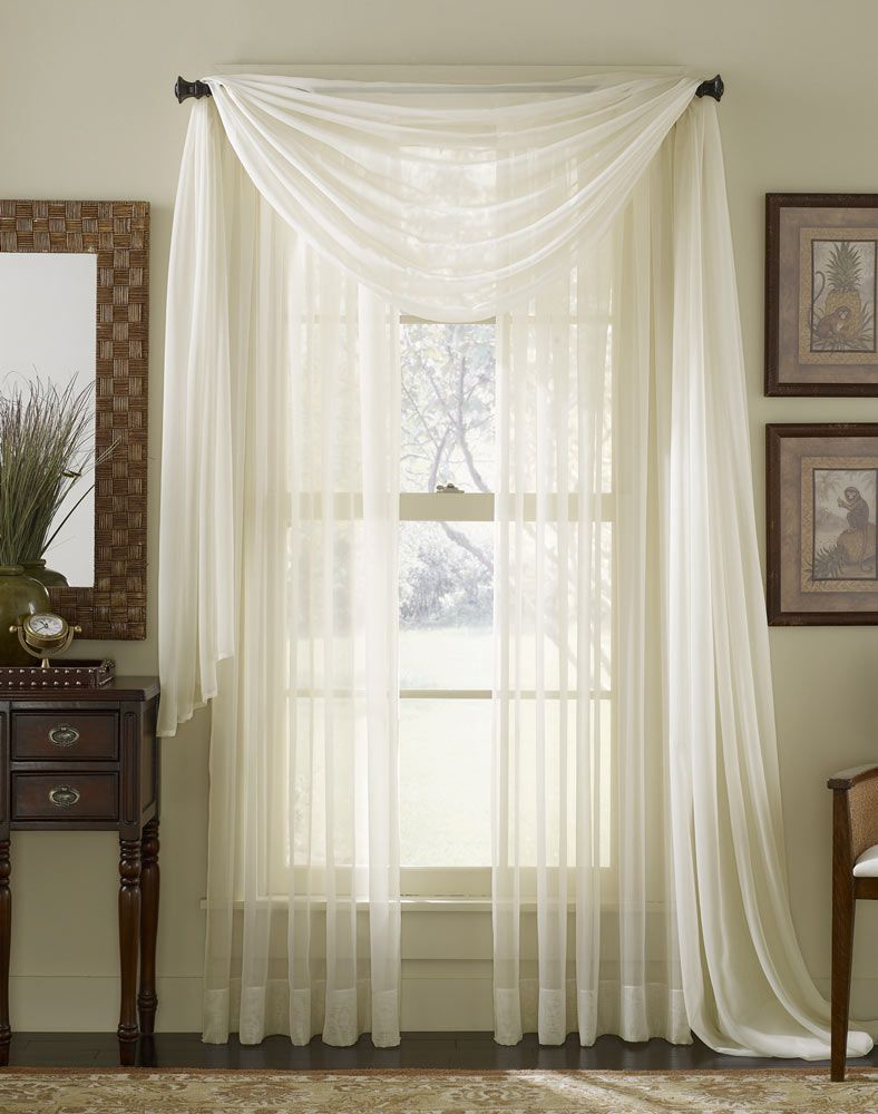 Sheer curtains for large windows platinum voile flowing for Window valances for bedroom