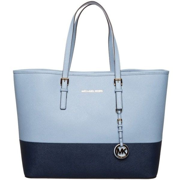3157cf845e MICHAEL Michael Kors JET SET TRAVEL Tote bag pale blue navy ( 310) ❤ liked  on Polyvore featuring bags