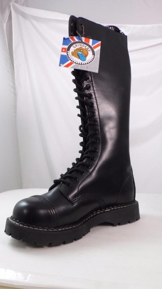 2eccf39c14f Grinders uk 6 black leather 20 eye cap steel toe boots us 7 mens us ...