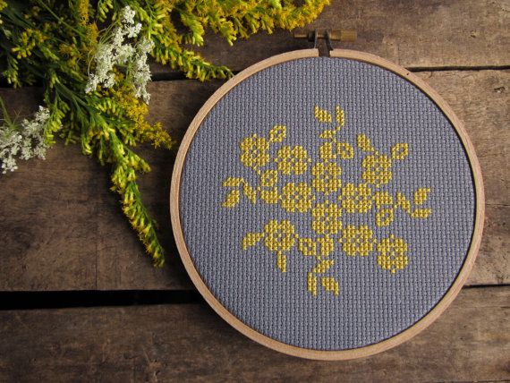 diy cross-stitch pattern/kit - yellow flowers on grey - to be framed in the 5 inch hoop. $14.00, via Etsy.