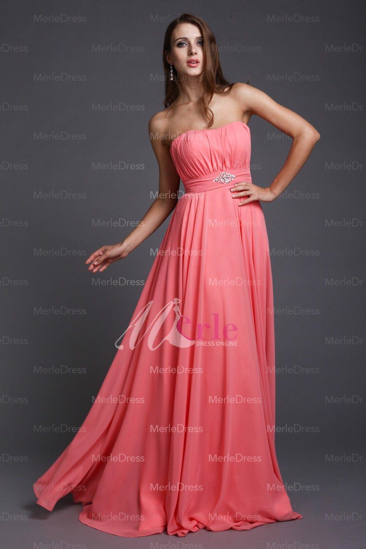 A pretty peach colored bridesmaid dress a pretty peach colored