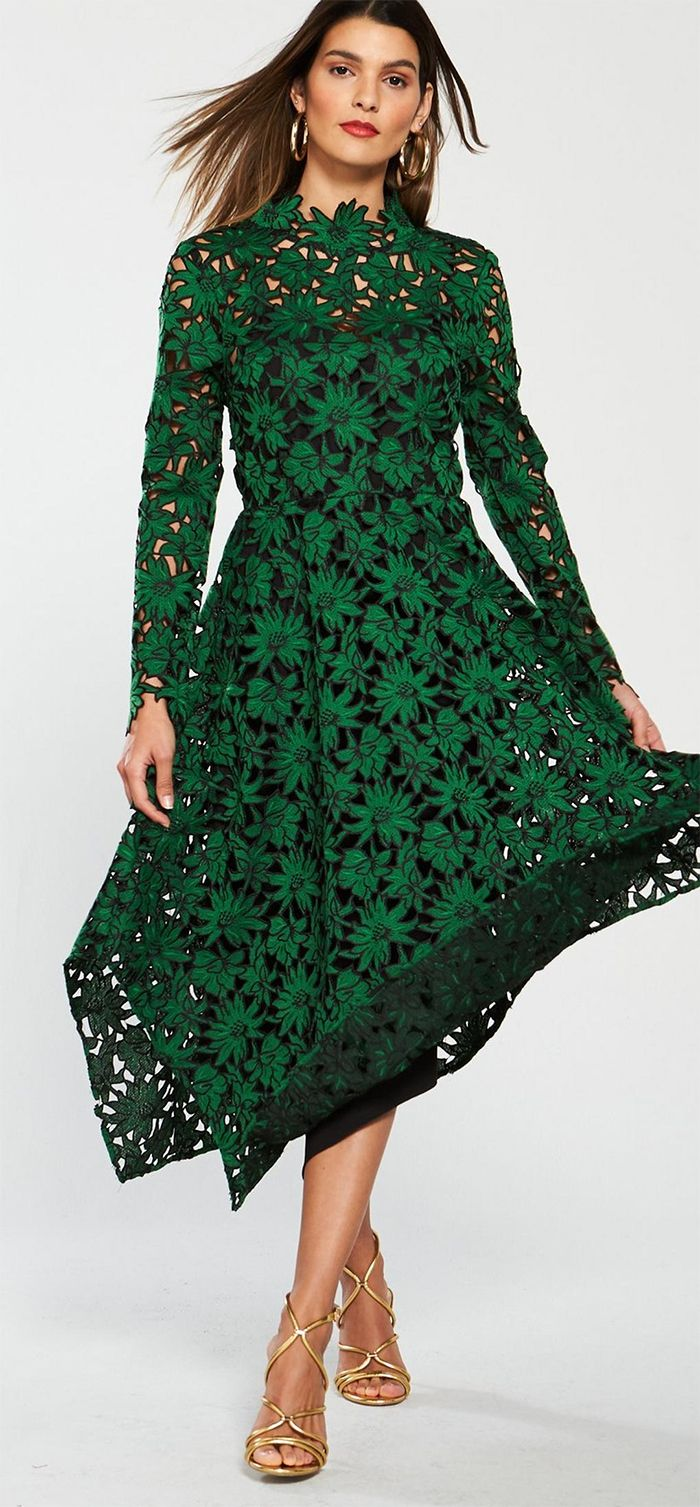 Emerald Green Lace Dress For Spring Racing Fashion Or Spring Wedding Guest Outfits F Lace Wedding Guest Dress Wedding Guest Outfit Spring Green Lace Dresses [ 1507 x 700 Pixel ]