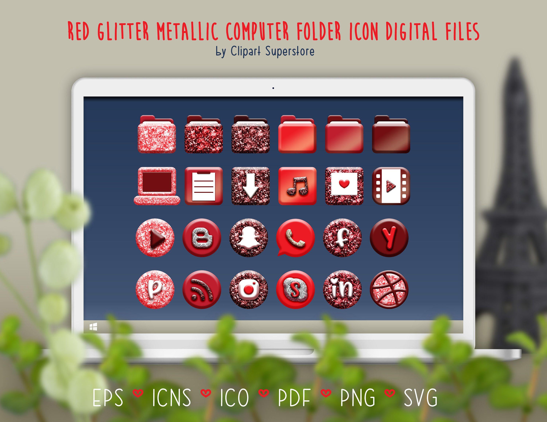 Red Computer Desktop Folder Icon Svg Ico Icns Png Eps Digital Etsy Folder Icon Computer Desktop Computer Icon