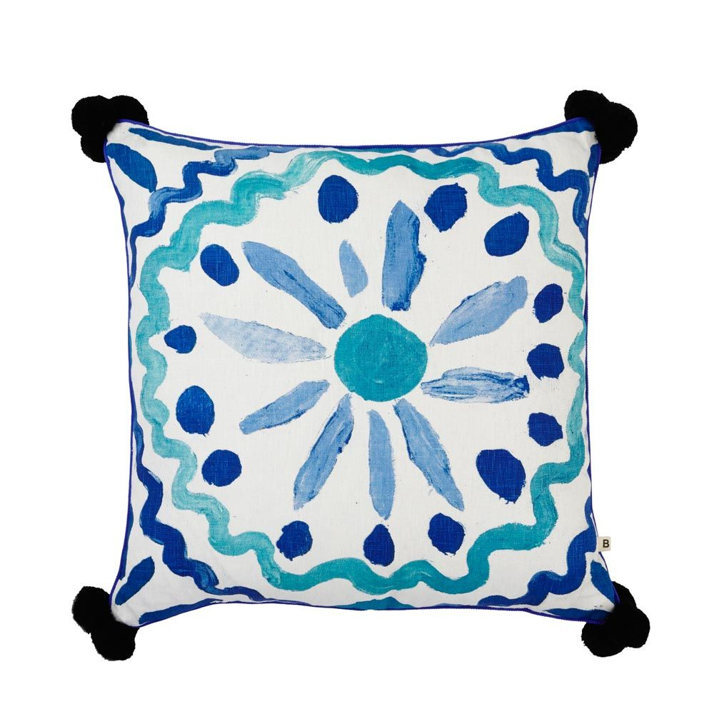 Master bedroom dimensions   linen cushion hand screen printed with heirloom design in blue
