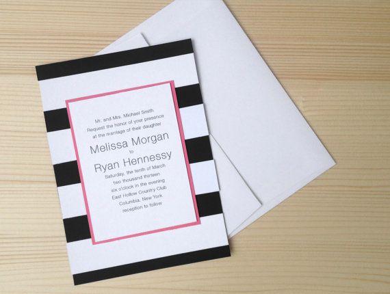 Black And White Stripes Wedding Invitation By Stellamaydesigns 4 50