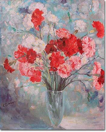 Art Paintings Young Lady Gramophone Bunch Carnations Flowers Bouquet Art Painting Watercolor Flowers Paintings Painting