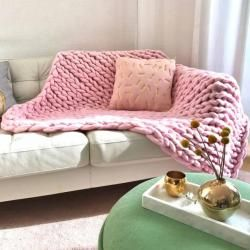 Photo of Wolldecke Cosima Chunky Knit medium 100x150cm, babypink