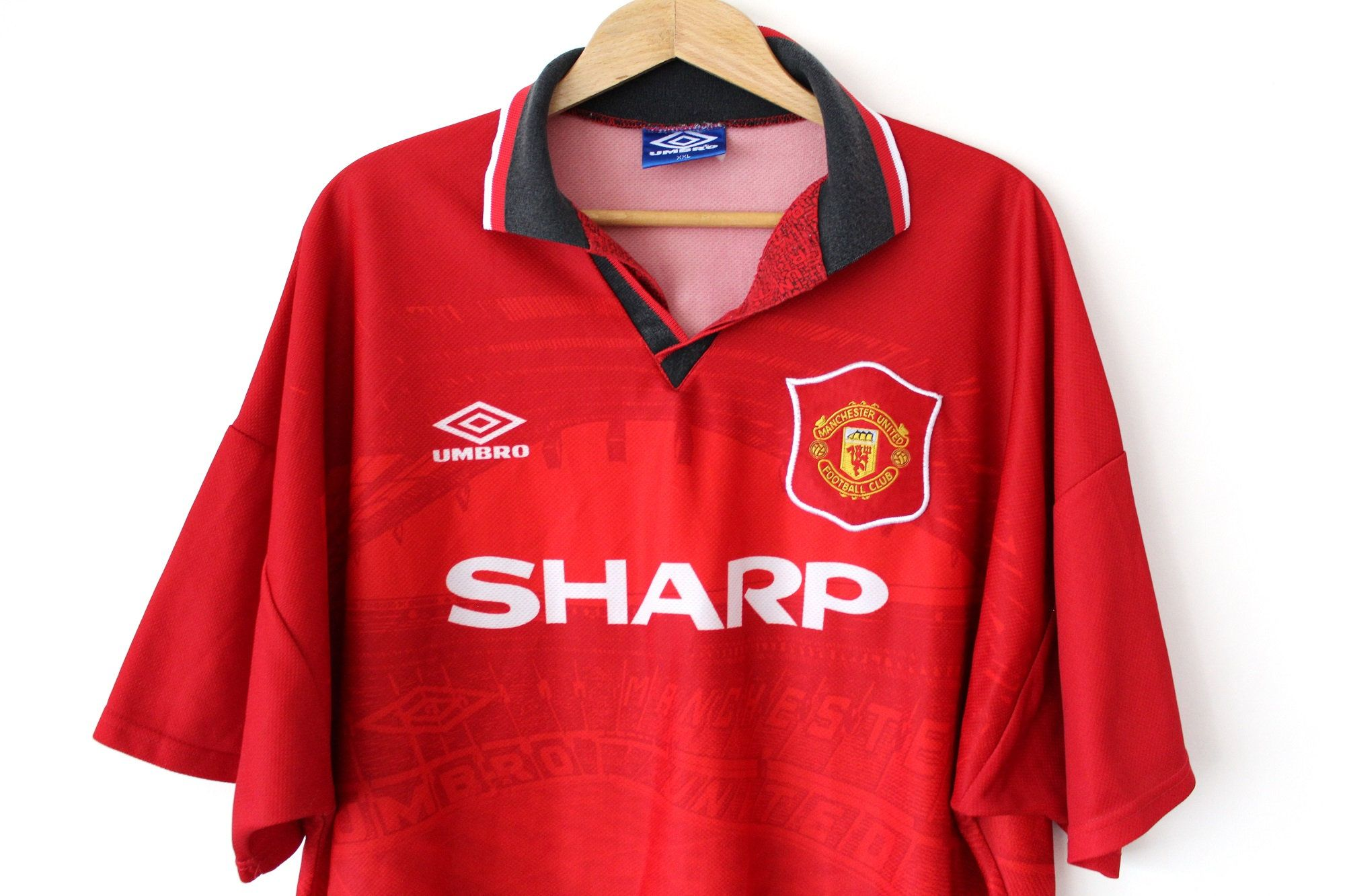 94 96 Umbro Manchester United Sharp Shirt Vintage Football Jersey Made In England Red Soccer Shirt Manchester United Ho Soccer Shirts Umbro Vintage Football