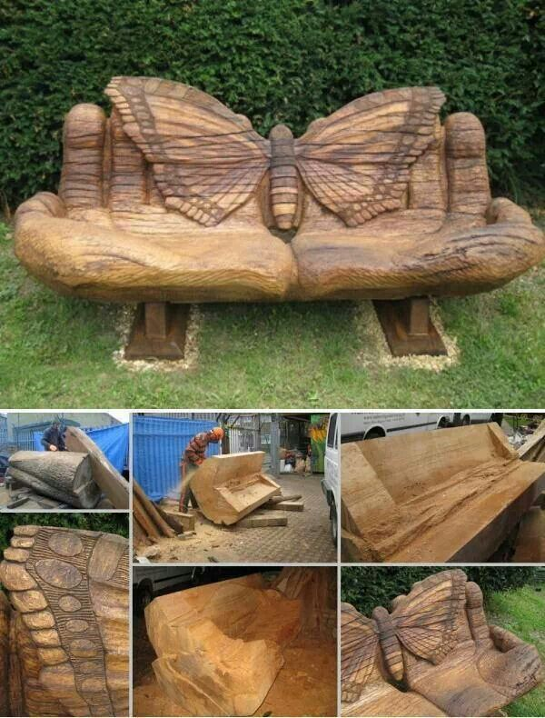 Chainsaw Sculpted Bench Carved From A Single Tree Trunk Beautiful Work Wood Creations Wood Wood Art