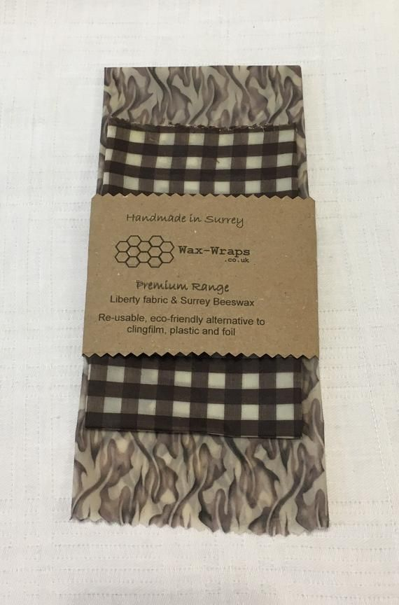 Premium Quality Beeswax Wraps – made using Natural English Beeswax, Liberty Tana Lawn and organic gingham fabric