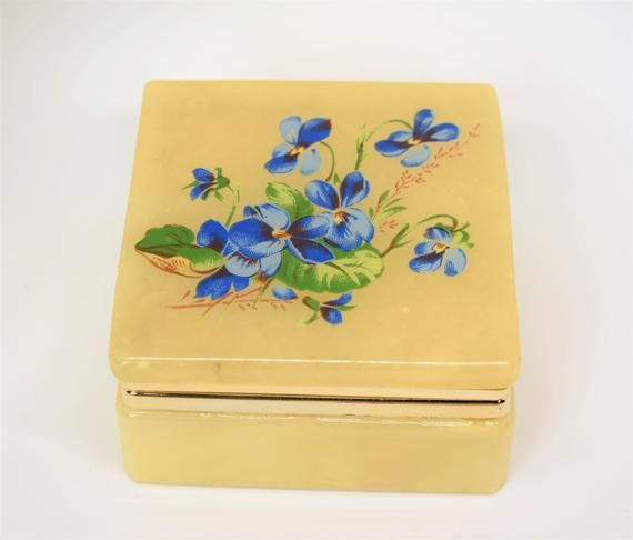 Vintage Alabaster Trinket Box Small Jewelry Box Blue Flowers