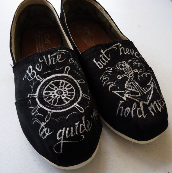 cdafe7bc0a4 Wheel and Anchor handpainted TOMS by LamaLand on Etsy