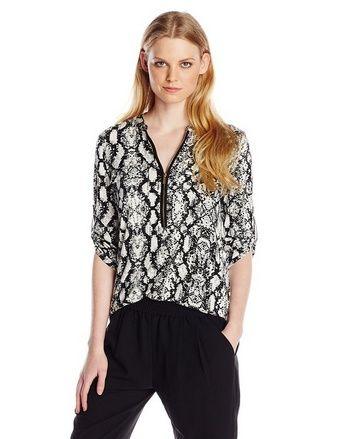 Women's Printed Zip Front Roll Sleeve