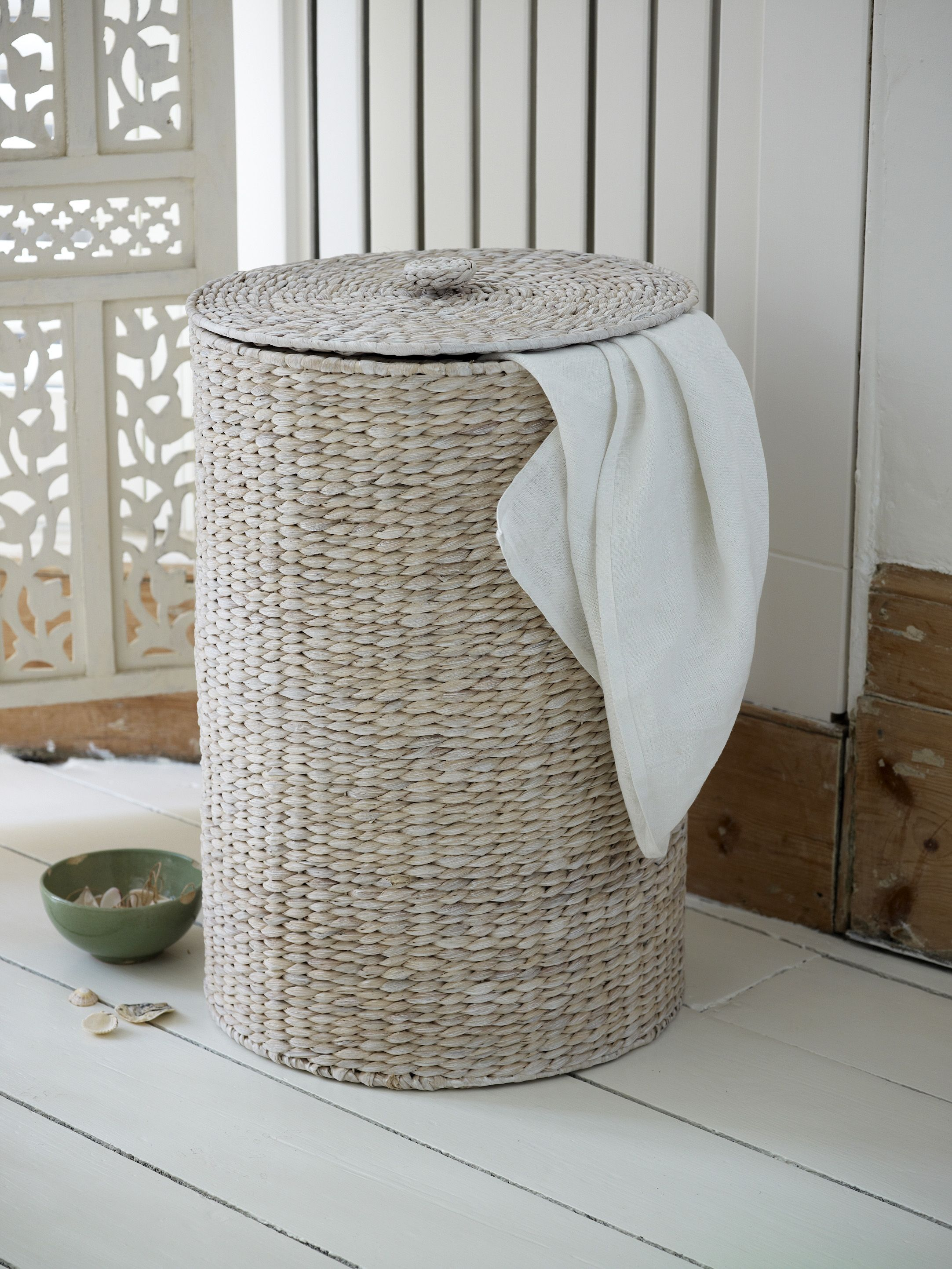 White Washed Water Hyacinth Laundry Bin From Lombok