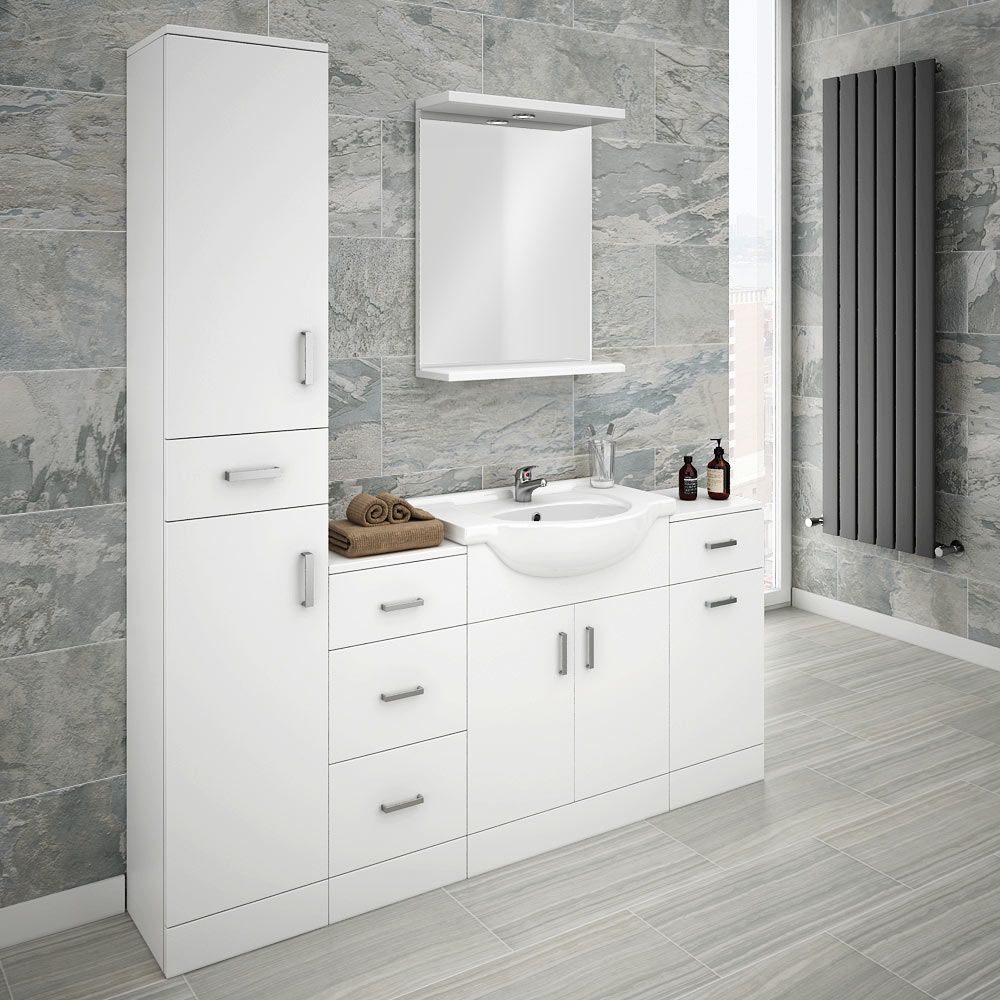 Cove Bathroom Furniture Pack 5 Piece White Gloss Victorian Plumbing Uk Bathroom Furniture Uk White Bathroom Furniture Bathroom Furniture Storage