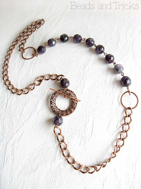 Copper and amethyst necklace