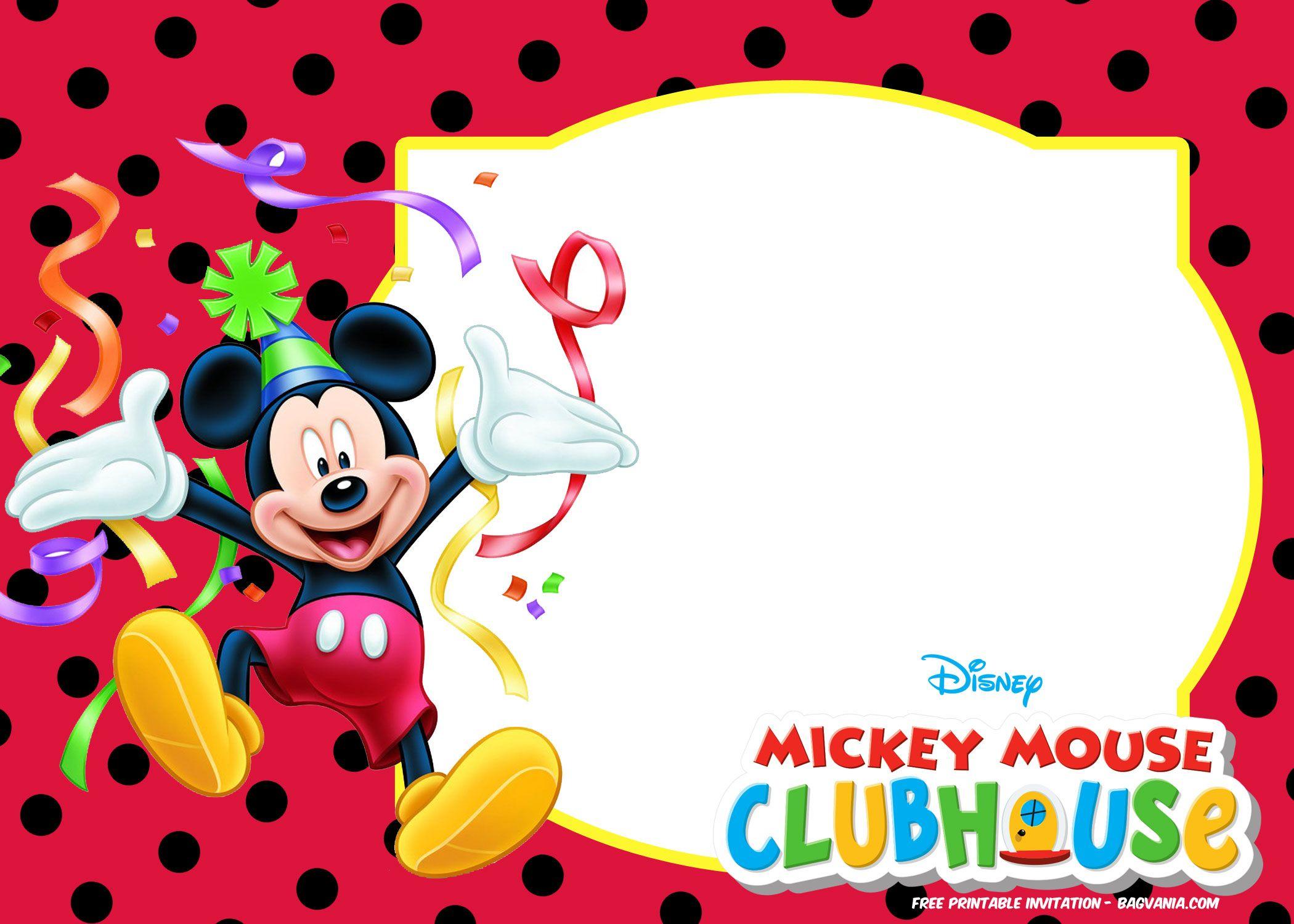 FREE Mickey Mouse Summer Birthday Invitations Mickey
