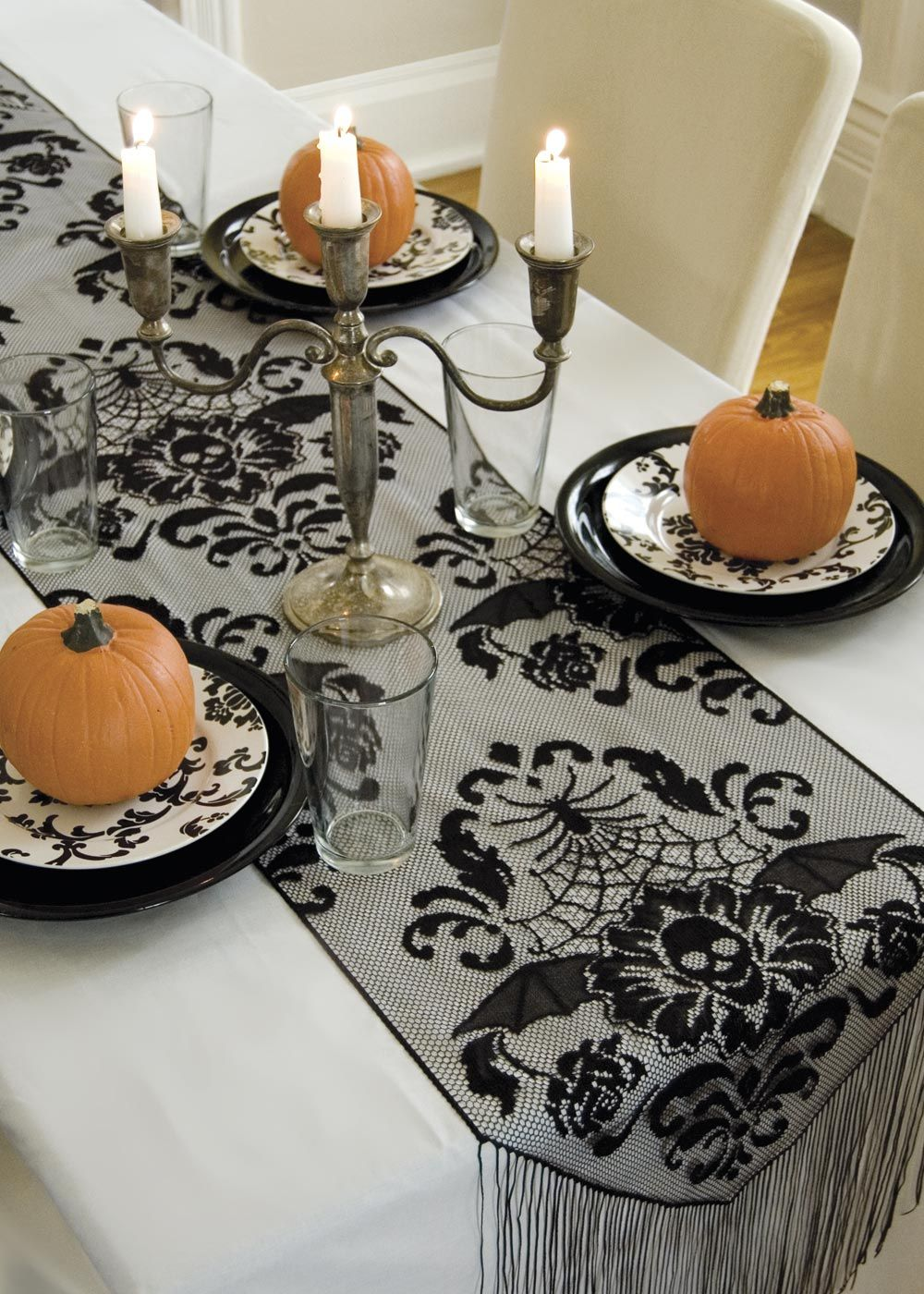 Charmant Halloween Damask Runner By Heritage Lace. #lace #halloween #decor #table