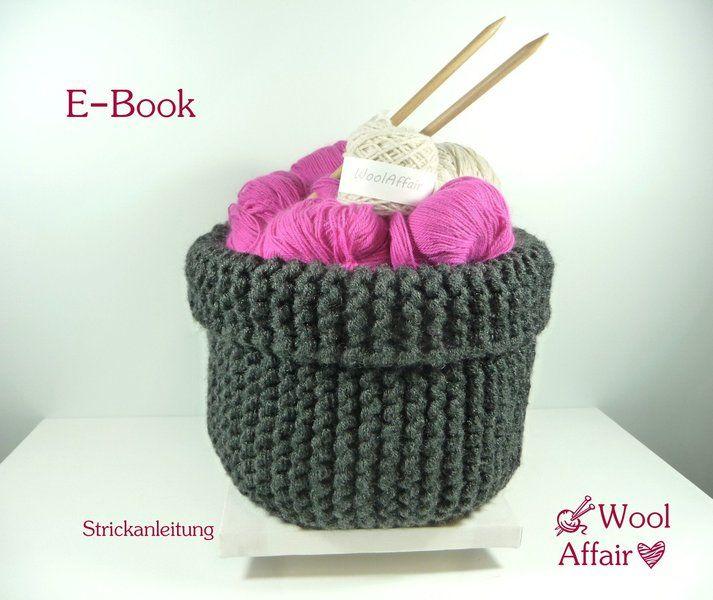chunky basket knitting pattern grobstrick korb strickanleitung e book knitted basket crochet. Black Bedroom Furniture Sets. Home Design Ideas