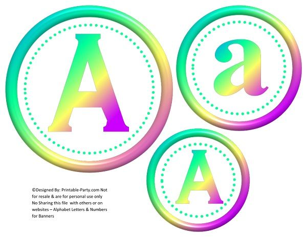 free printable 6 inch 3d circle green rainbow banners letters a z 0 9 balloon decor flags blank flags make 3 banners in three different sizes or mix
