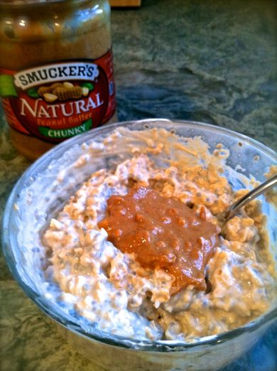 peanut butter over night oats