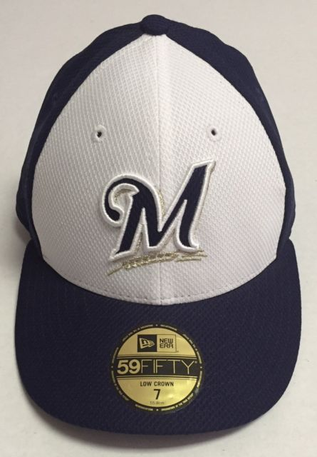 f9cb9430bf660 ... free shipping milwaukee brewers fitted hat size 7 new era baseball cap  mlb low crown 59fifty