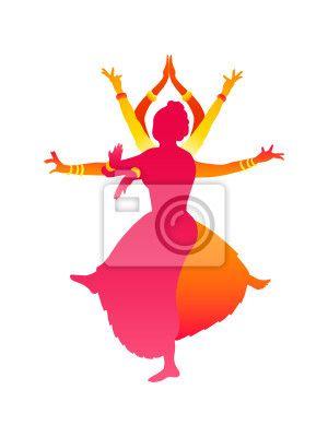 Wall Mural colorful classic indian female dance bharatanatyam