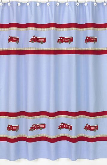 FIRE TRUCK DOG FIREMAN BLUE BOYS BATH FABRIC SHOWER CURTAIN SWEET JOJO DESIGNS
