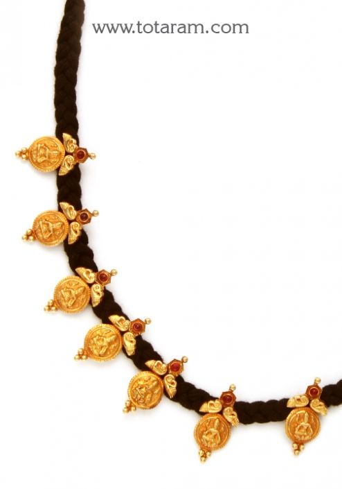 22K Gold 'Lakshmi kasu' Necklace with Black Thread (Temple