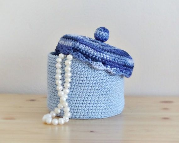 Crochet jewelry box with lid cotton crochet basket by DiaBeads My