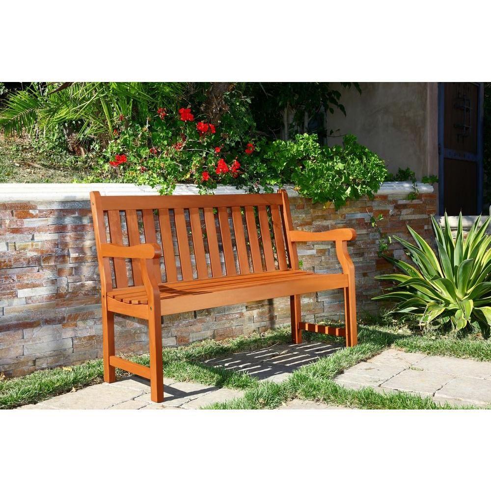 Vifah Henley Eucalyptus 2-Seater Patio Bench | Wood patio ...