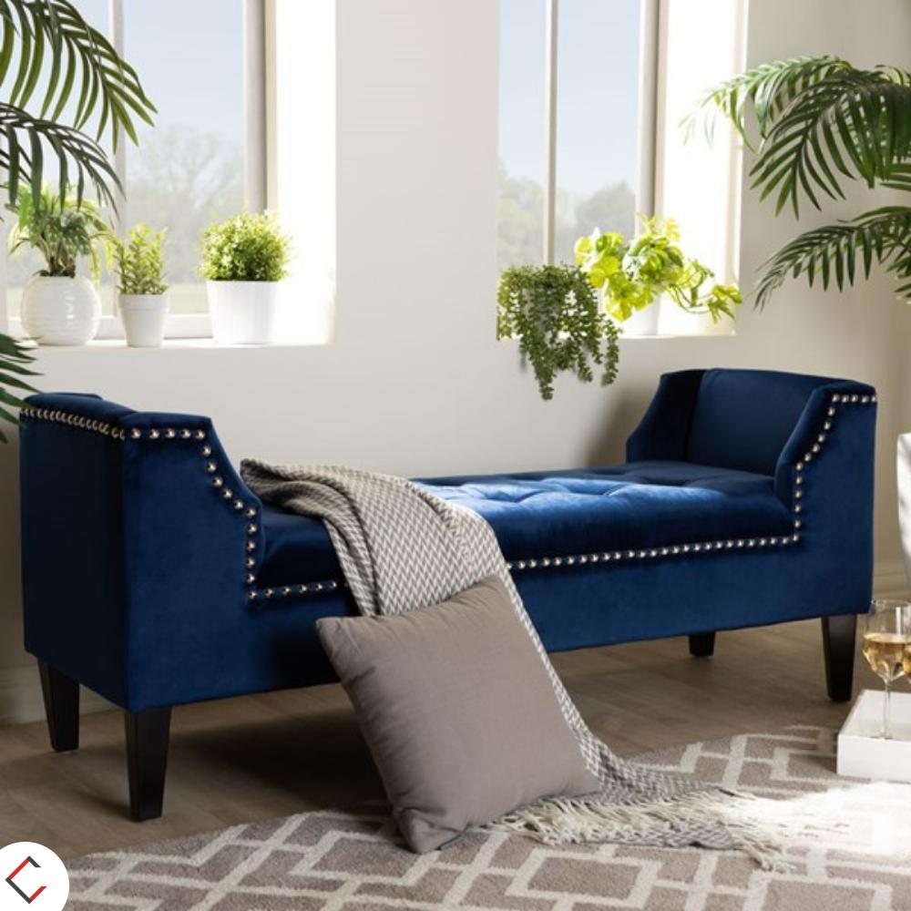 Baxton Studio Perret Royal Blue Velvet Upholstered Nailhead Bench In 2020 Blue Velvet Chairs Blue Living Room Blue Furniture