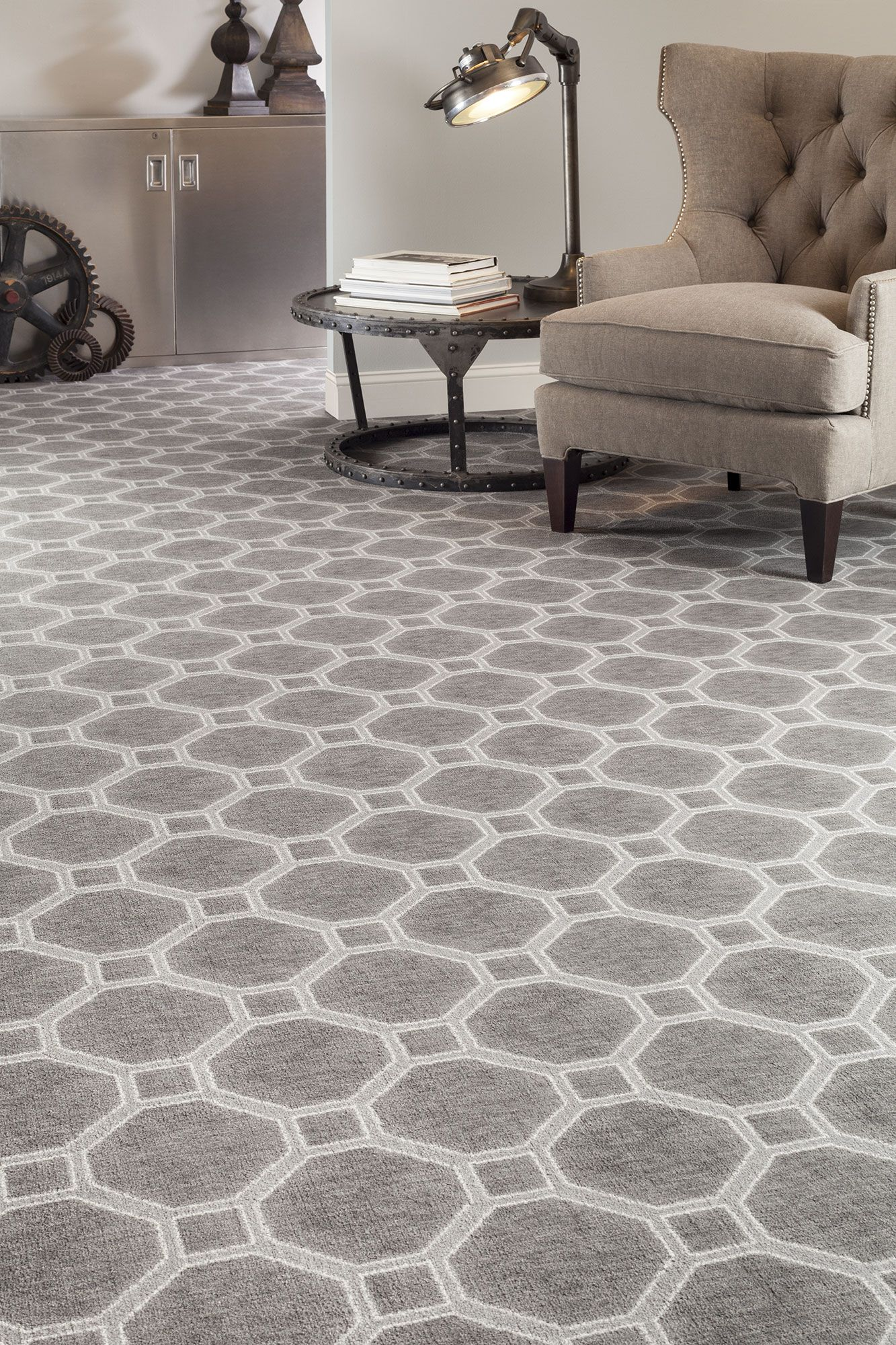 Hexagon Patterned Carpet Gray Bold Flooring With Neutral