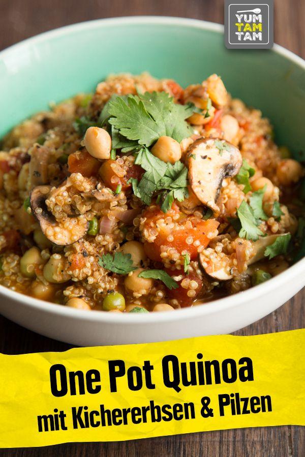 One Pot Quinoa mit Kichererbsen & Pilzen